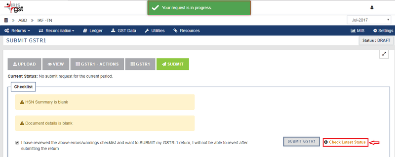 Sapphire_GSTR 1_Submit in process