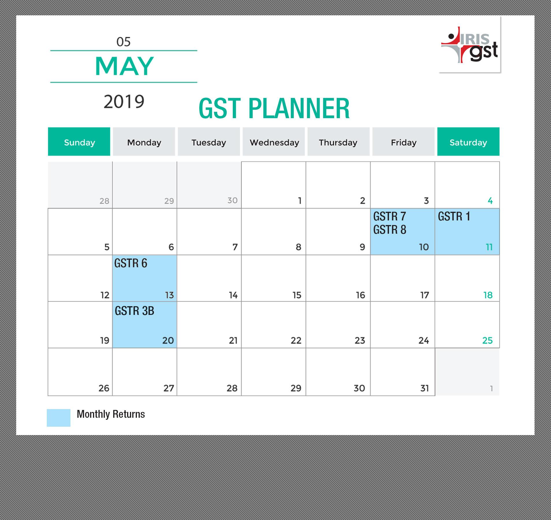 GST Compliance Calendar - May 2019